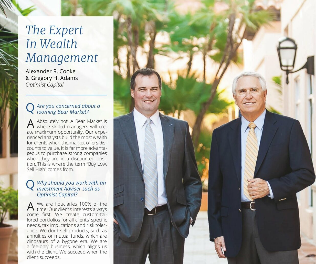 Alexander Cooke, Gregory Adams, Wealth Managers